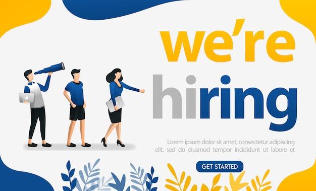 Estamos contratando cartazes de palavras para candidatos a emprego e empresas Vetor Premium
