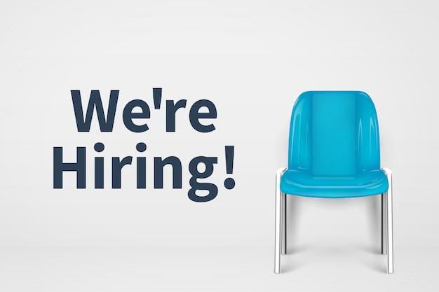Estamos contratando conceito. cadeira de escritório vaga. negócios de assento vazio recrutamento de fundo vector Vetor Premium