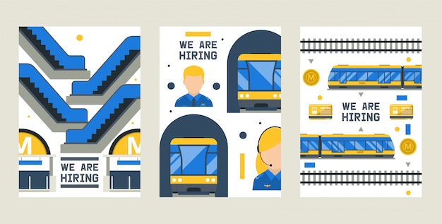 Estamos contratando conjunto de cartões, ilustração vetorial. elementos da estação de metrô, incluindo trem, plataforma, passagem, motorista, porta de entrada, cartão, Vetor Premium