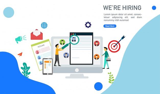 Estamos contratando e conceito de recrutamento on-line com pessoas minúsculas caráter ilustração vetorial. Vetor Premium