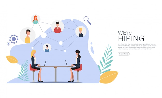 Estamos contratando e recrutamento on-line para a página de destino. Vetor Premium