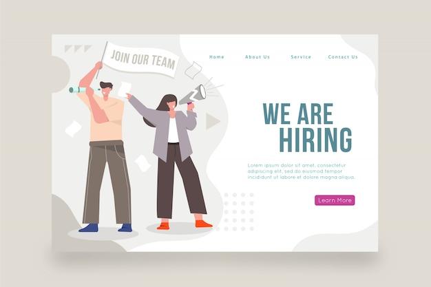 Estamos contratando home page com ilustração Vetor grátis