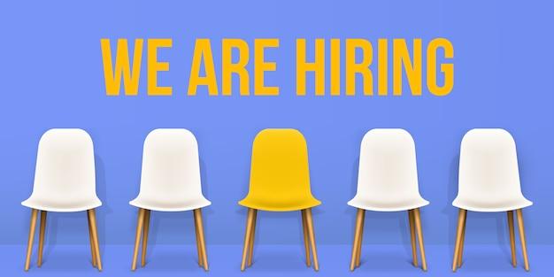Estamos contratando, recrutando, empregando, entrevistando banner Vetor Premium