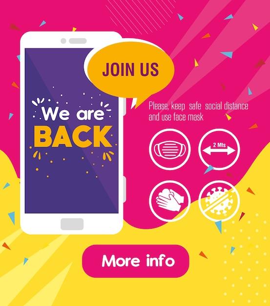 Estamos de volta mensagem em smartphone, com medidas de prevenção contra covid19. Vetor Premium
