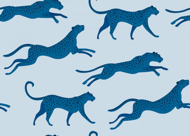Estampa de leopardo de design de moda do padrão sem emenda. Vetor Premium