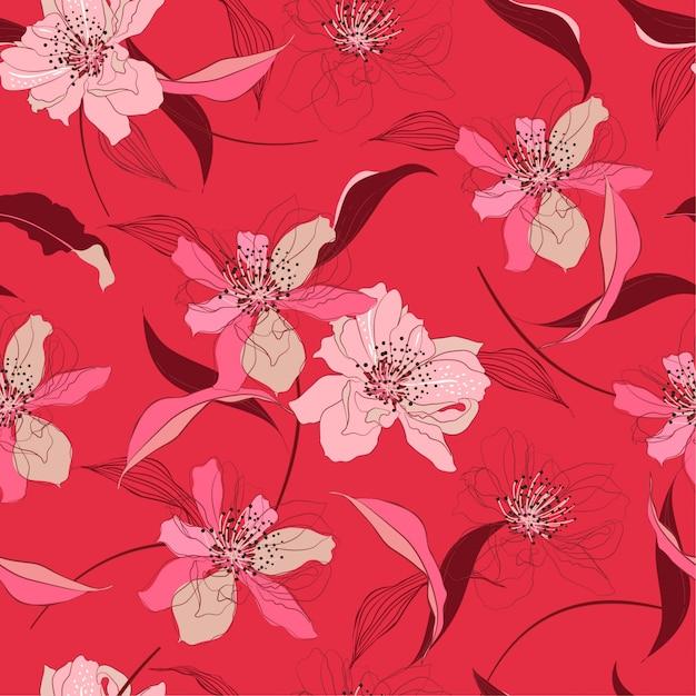 Estampa floral Vetor Premium