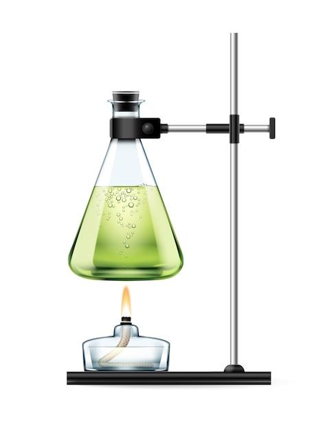 Estande de laboratório químico com frasco de vidro cheio de líquido verde e queimador de álcool isolado no branco Vetor grátis
