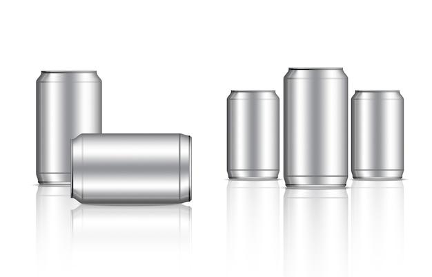 Estanho metálico pode e embalagem de bebidas de garrafa Vetor Premium