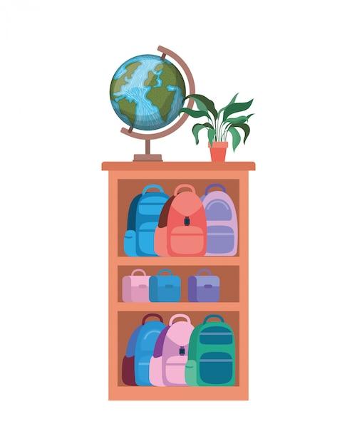 Estante com livros escolares Vetor Premium