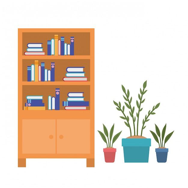 Estantes com livros em branco Vetor Premium