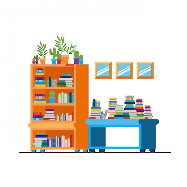 Estantes com livros Vetor Premium