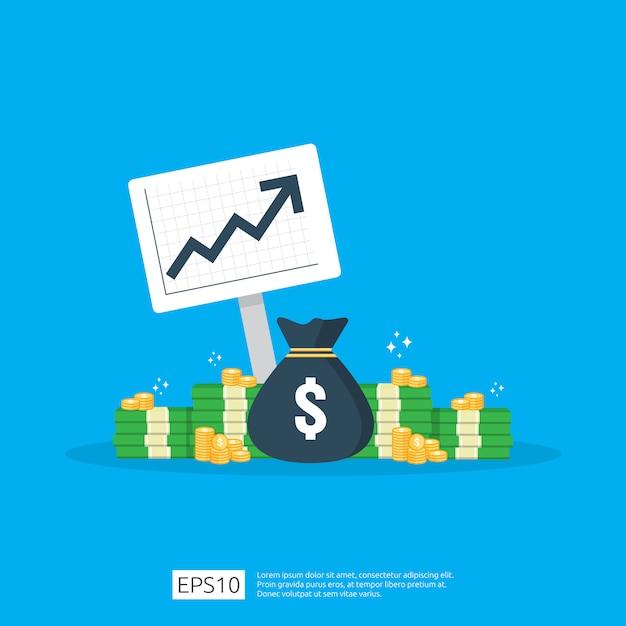 Estatística de aumento da taxa de dólar do salário de renda. receita de margem de crescimento de lucro comercial. financie o desempenho do conceito de roi de retorno do investimento com seta. Vetor Premium