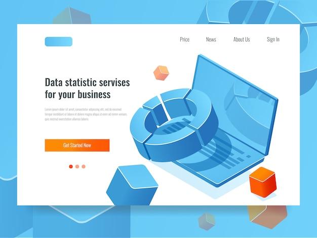 Estatística de dados e análise, conceito de negócio do relatório de informação, planejamento e estratégia ícone Vetor grátis