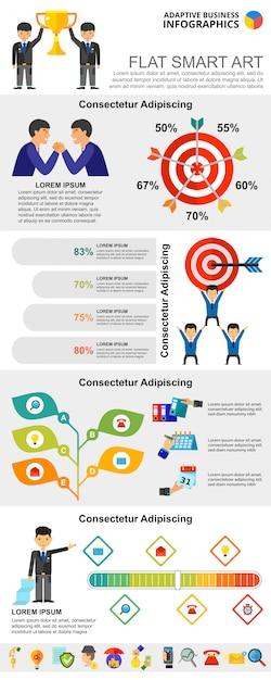 Estatísticas coloridas ou conjunto de gráficos infográfico de conceito de gestão Vetor grátis