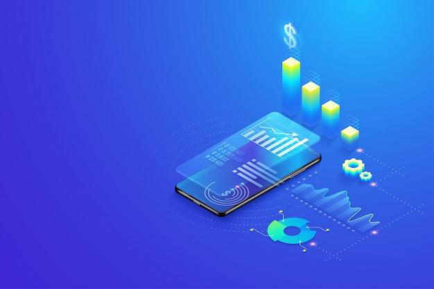 Estatísticas de análise de dados móveis 3d isométricas Vetor Premium