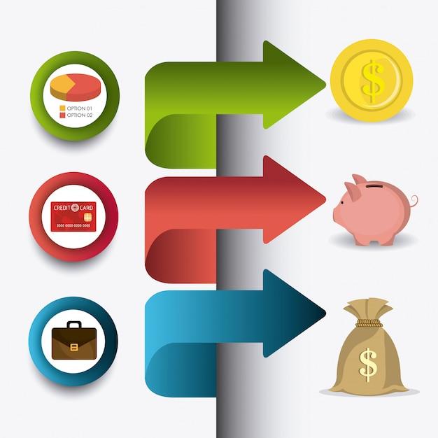 Estatísticas de crescimento de negócios e economias de dinheiro Vetor grátis