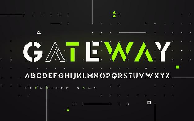 Estêncil futurista san serif, alfabeto, letras maiúsculas, tipografia. Vetor Premium