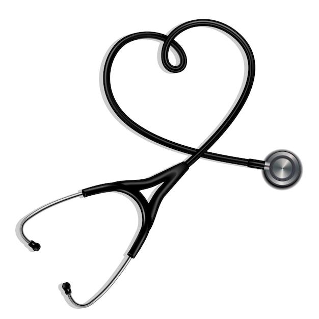 Estetoscópio em forma de coração Vetor Premium