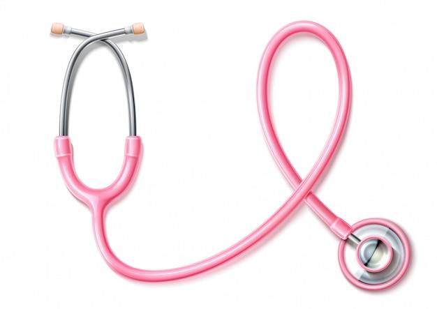 Estetoscópio rosa realista de vetor, conscientização do câncer de mama Vetor Premium