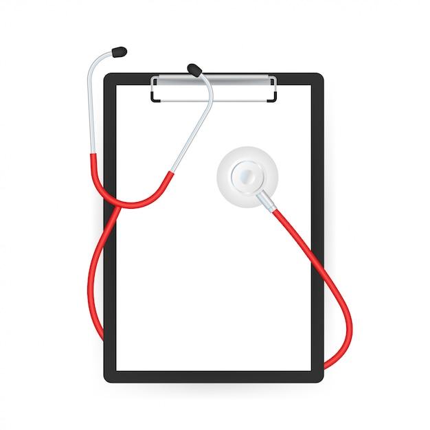 Estetoscópios e prancheta, equipamento médico para médico. ilustração em vetor das ações Vetor Premium