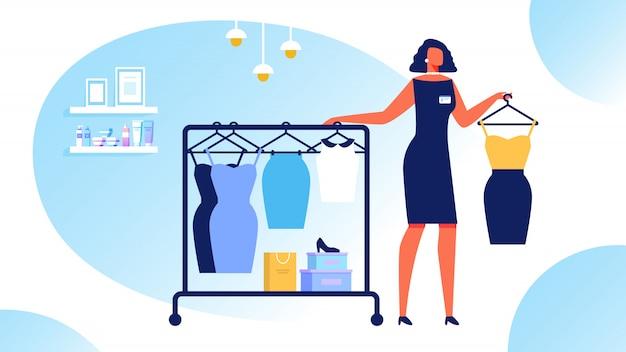 Estilista de mulher escolhe roupas. treinamento de estilo de beleza Vetor Premium