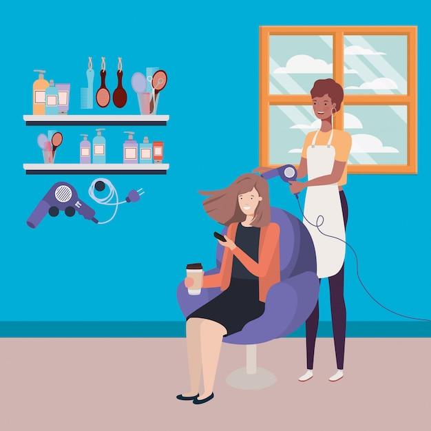 Estilista que fixa o cabelo ao cliente nos caráteres do salão de beleza Vetor Premium