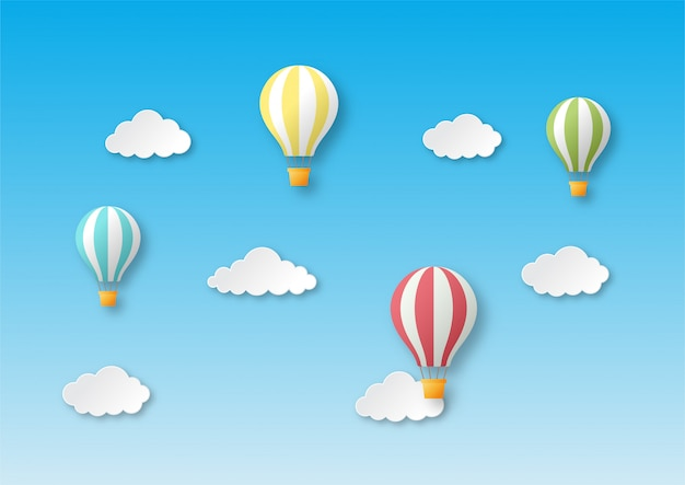 Estilo arte papel viajar com balão voando fundo. Vetor Premium