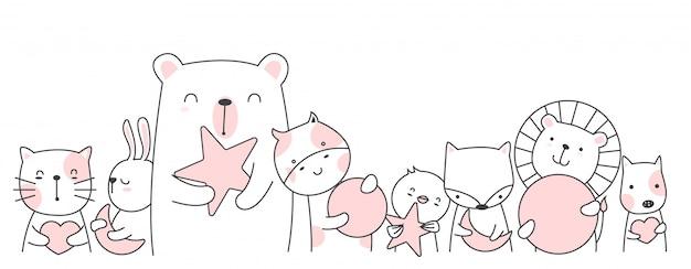 Estilo bonito dos desenhos animados animais mão desenhada Vetor Premium