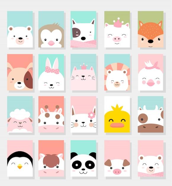 Estilo bonito dos desenhos animados do cartão dos animais do bebê Vetor Premium