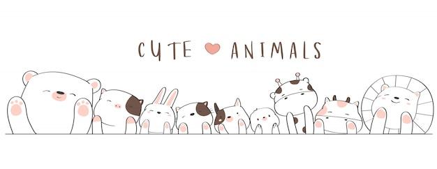 Estilo bonito dos desenhos animados mão animal dos desenhos animados Vetor Premium