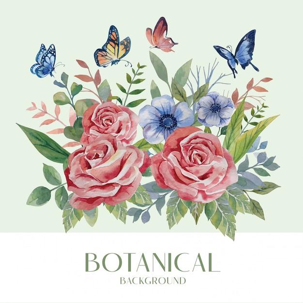 Estilo botânico de buquê de flores de rosa vermelha e azul de cor de água com borboleta na ilustração de fundo verde Vetor Premium