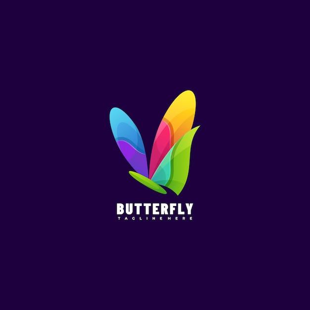 Estilo colorido do gradiente da borboleta da ilustração do logotipo. Vetor Premium