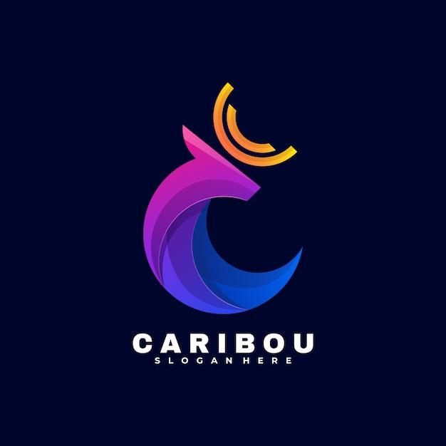 Estilo colorido do gradiente do logotipo do caribu. Vetor Premium