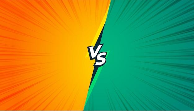 Estilo cômico versus banner vs na cor amarela e turquesa Vetor grátis