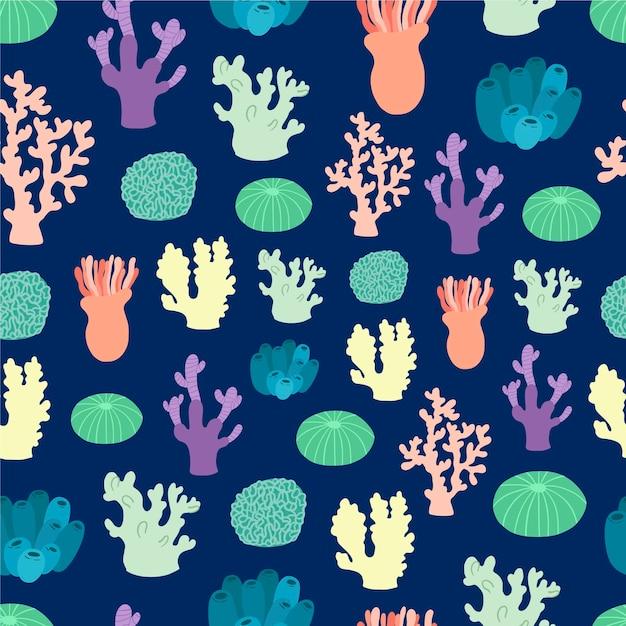 Estilo coral padrão colorido Vetor grátis