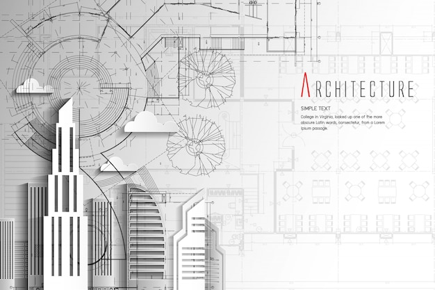 Estilo da arte de background.paper da arquitetura e do modelo. Vetor Premium