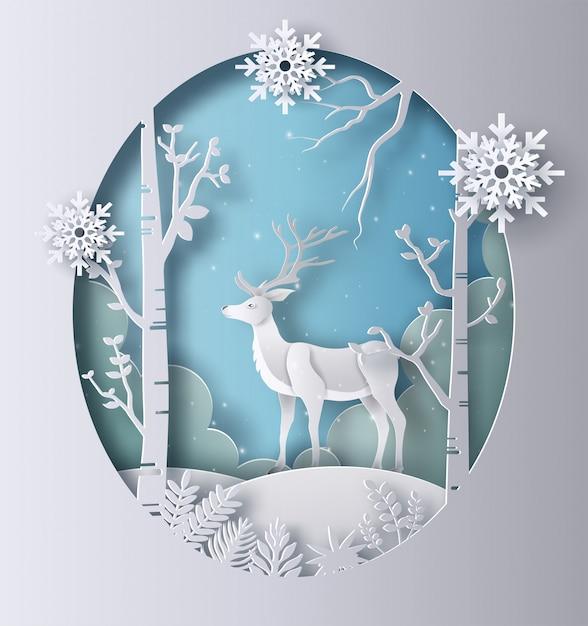 Estilo da arte de papel de uma rena que está em uma floresta. Vetor Premium