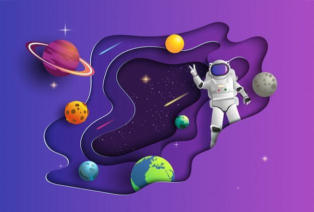 Estilo da arte de papel do astronauta no espaço na missão. Vetor Premium