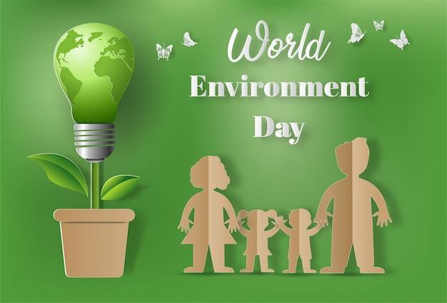 Estilo da arte de papel do conceito do dia de ambiente de mundo. Vetor Premium