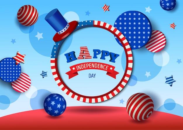 Estilo da ilustração 3d do dia da independência eua. design com moldura de círculo e padrão de bandeira Vetor Premium