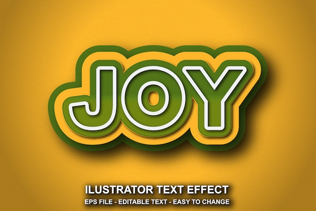 Estilo de alegria de efeito de texto editável Vetor Premium