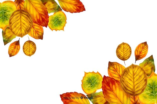 Estilo de aquarela de fundo de folhas de outono Vetor grátis