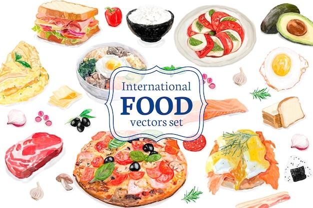 Estilo de aquarela internacional de mão desenhada comida Vetor grátis