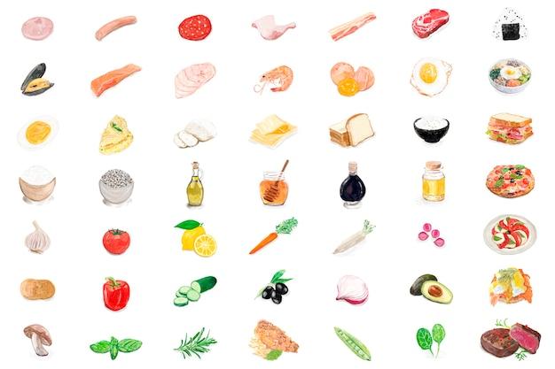 Estilo de aquarela mão desenhada alimentos ingredientes Vetor grátis