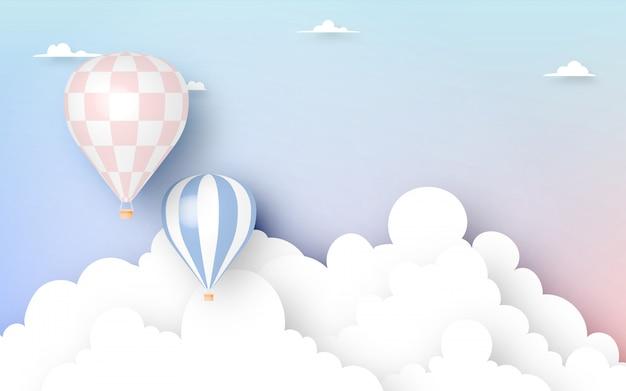 Estilo de arte de papel de balão de ar quente com ilustração em vetor fundo céu pastel Vetor Premium