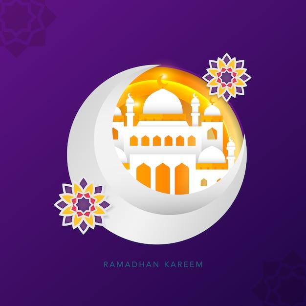 Estilo de arte de papel islâmico de ramadhan Vetor Premium
