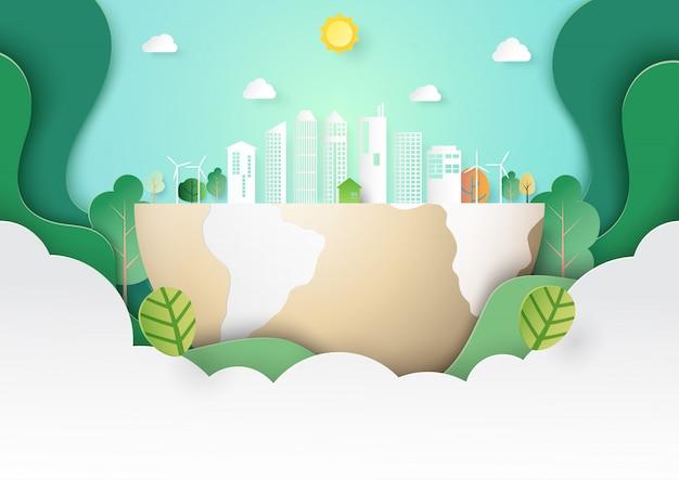 Estilo de arte de papel verde eco paisagem paisagem modelo Vetor Premium
