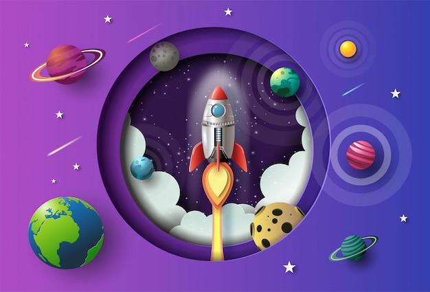 Estilo de arte em papel de foguete voando no espaço Vetor Premium