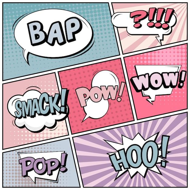 Estilo de arte pop em quadrinhos em branco Vetor Premium