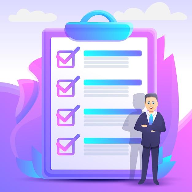 Estilo de cartoon de ilustração de conceito de lista de verificação Vetor Premium